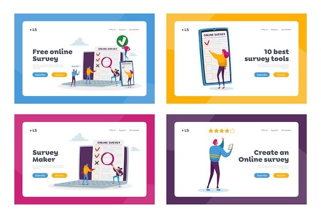 Set di modelli di pagina di destinazione del sondaggio online. piccoli personaggi che riempiono il modulo digitale su enormi applicazioni per laptop e smartphone