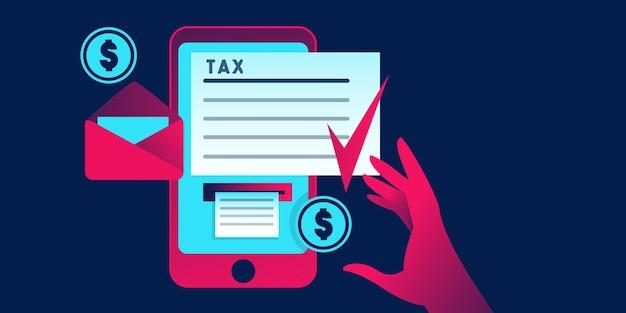Concetto aziendale di pagamento dell'applicazione fiscale online