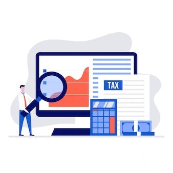 Pagamento delle tasse online e concetto di illustrazione di report con personaggi dei cartoni animati di persone.