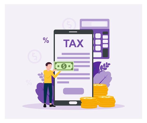 Pagamento delle imposte online dichiarazioni fiscali in design piatto