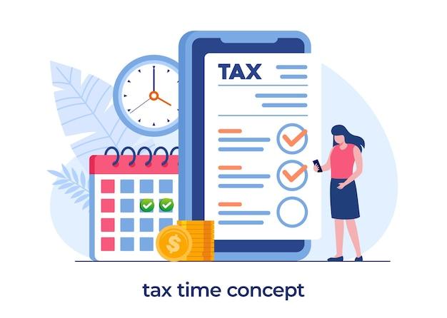 Concetto di tasse online, modulo e budget online, pagamento della scadenza, banner vettoriale di illustrazione piatta