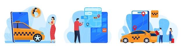 Illustrazione dell'applicazione di servizio di ordine di auto taxi online. Vettore Premium