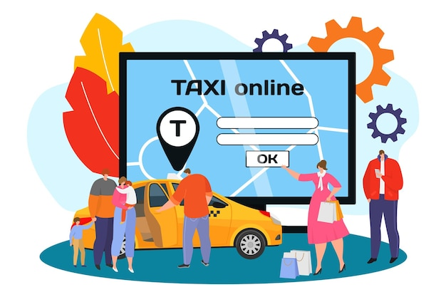 Taxi online al computer, illustrazione vettoriale. piatto uomo donna carattere ordine auto al servizio internet, la gente aspetta il trasporto vicino a un enorme schermo elettrico. icona della posizione sopra l'automobile.
