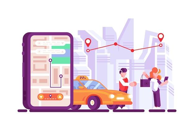 Taxi online apri l'app mobile sullo schermo dello smartphone