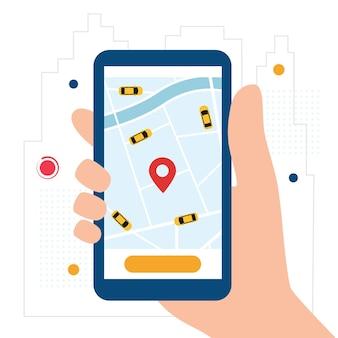 App di servizio taxi online. mano con smartphone e applicazione taxi