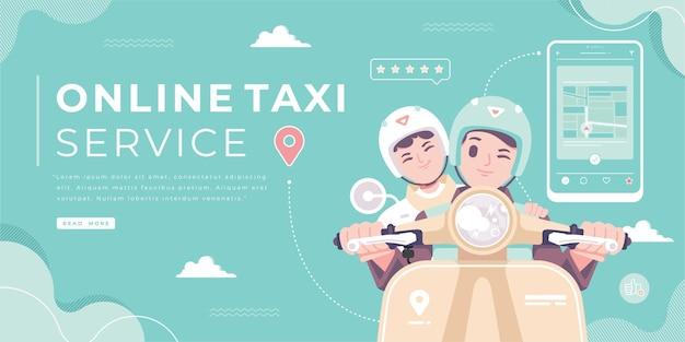 Illustrazione del concetto di servizio taxi online