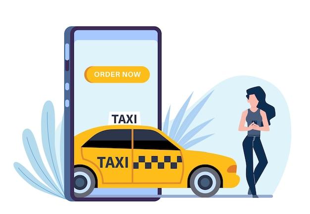 Taxi in linea. la donna chiama l'automobile tramite l'applicazione in smartphone, schermo del telefono e ragazza che ordina auto gialla, cartone animato piatto vettoriale isolato su bianco concept