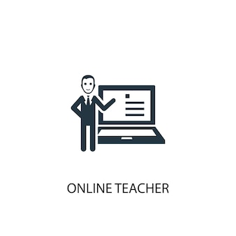Icona dell'insegnante online. illustrazione semplice dell'elemento. disegno di simbolo di concetto di insegnante online. può essere utilizzato per web e mobile.