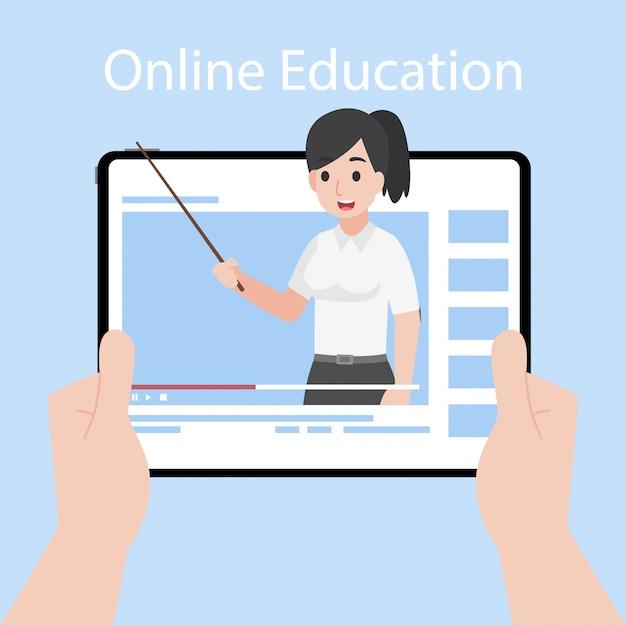 Insegnante online sull'istruzione d'istruzione del monitor della compressa, concetto della televisione di apprendimento a distanza.