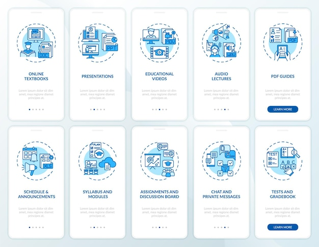 Schermata della pagina dell'app per dispositivi mobili di insegnamento online con set di concetti. suggerimenti per l'insegnamento in linea guida dettagliata 10 passaggi istruzioni grafiche. modello di interfaccia utente con illustrazioni a colori rgb