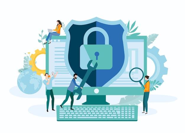 Tecnologie online sicurezza it e internet pagina di destinazione o modello di presentazione con persone e computer stile piatto di sfondo vettoriale
