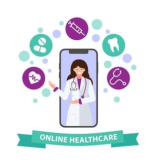 Telemedicina online tecnologia di consultazione medica online in smartphone