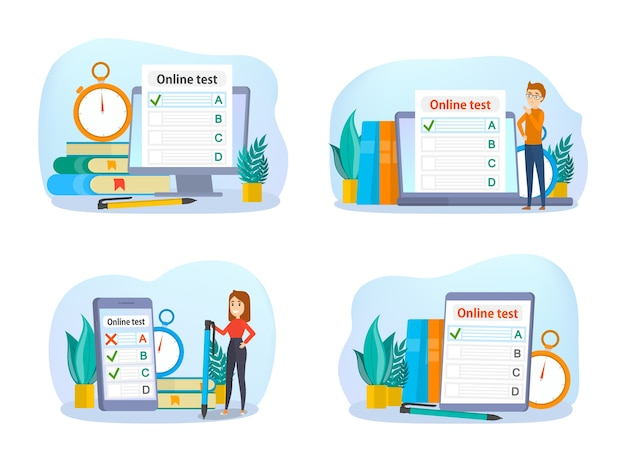 Concetto di test online. quiz sul computer. istruzione e apprendimento con dispositivo digitale. illustrazione vettoriale isolato