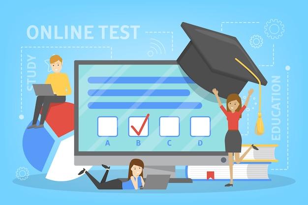 Concetto di test online. quiz sul computer