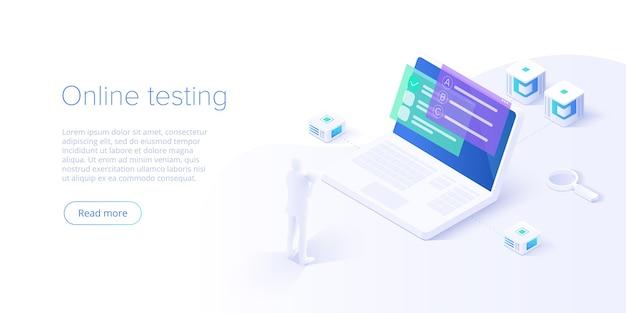 Test online o illustrazione del concetto di istruzione nella progettazione isometrica