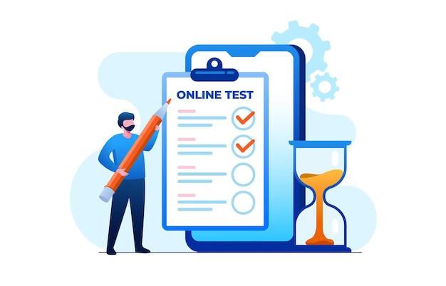 Test online con illustrazione vettoriale piatta del laptop per banner e landing page