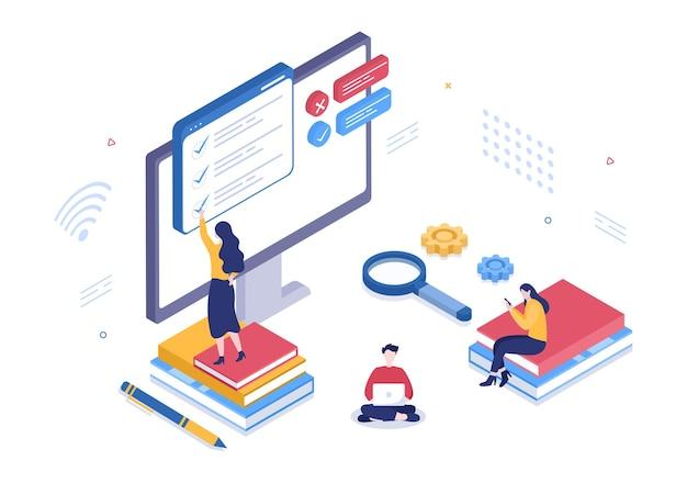 Illustrazione vettoriale di sfondo di test online con lista di controllo, esame, scelta di risposta, modulo, e-learning e concetto di istruzione