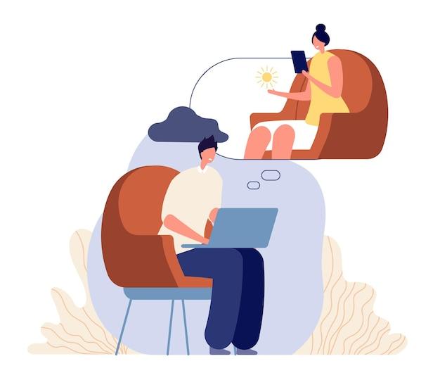 Consulenza terapeutica online. psicologo donna, supporto psicoterapeutico. l'uomo ha confuso, paziente con il concetto di vettore di stress o depressione. illustrazione online, psicologo terapeutico