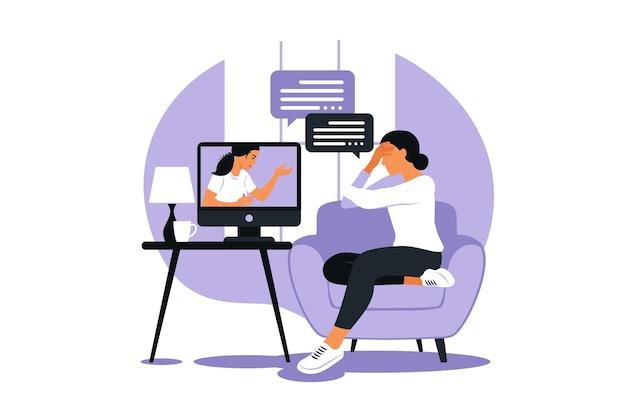 Terapia e consulenza online in condizioni di stress e depressione. la psicoterapeuta della giovane donna sostiene la donna con problemi psicologici