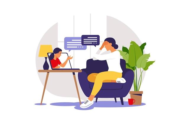 Terapia e consulenza online in condizioni di stress e depressione. la psicoterapeuta della giovane donna sostiene la donna con problemi psicologici.