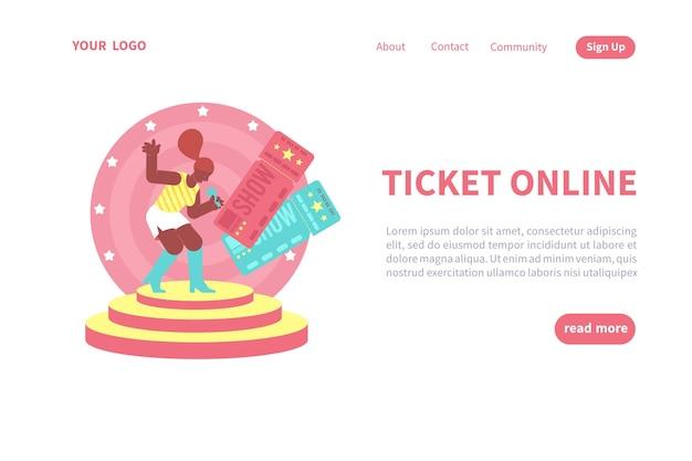 Modello di pagina di destinazione del biglietto online