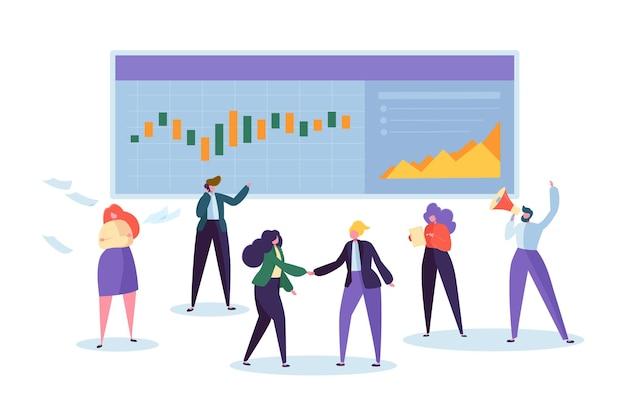 Carattere di analisi del grafico azionario del commercio online.