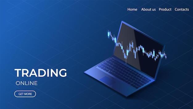 Pagina di destinazione del trading online grafico dei dati di crescita illustrazione isometrica di investimento
