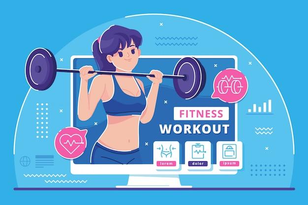 Sfondo di illustrazione di concetto di trainer online