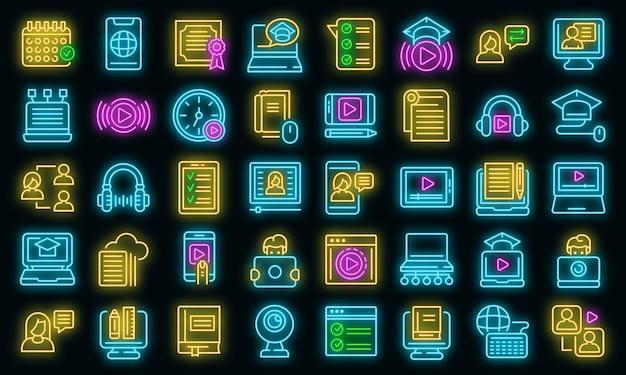 Icone di formazione online impostate vettore neon