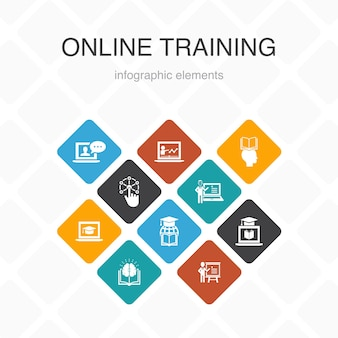 Infografica di formazione online 10 opzioni di design a colori. apprendimento a distanza, processo di apprendimento, elearning, icone semplici per seminari