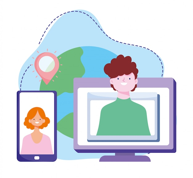 Formazione online, connessione al computer con smartphone, sviluppo di conoscenze sui corsi tramite internet