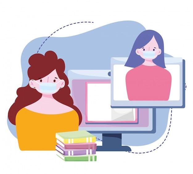 Formazione online, persone che indossano maschere di classe virtuale con libri, corsi di sviluppo della conoscenza tramite internet