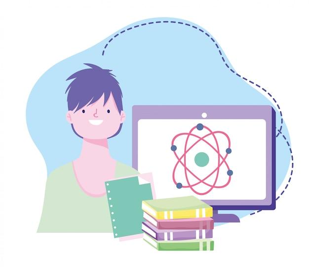 Formazione online, computer e libri di scienze per studenti, sviluppo di conoscenze sui corsi tramite internet