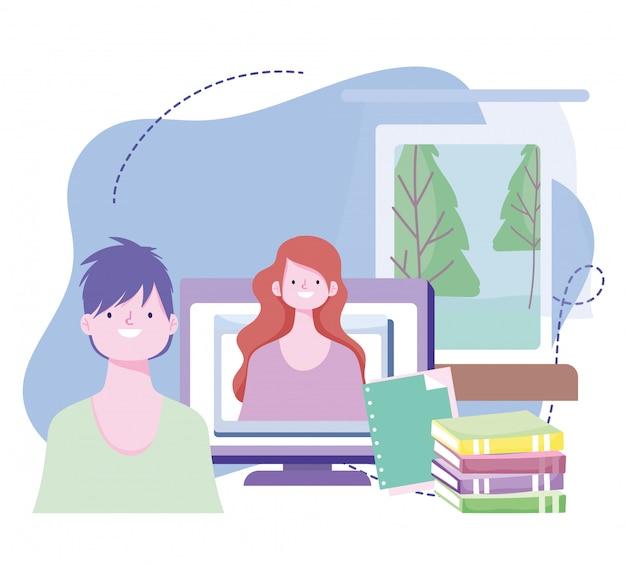Formazione online, insegnante che spiega libri di informatica per lezioni, sviluppo di conoscenze sui corsi tramite internet