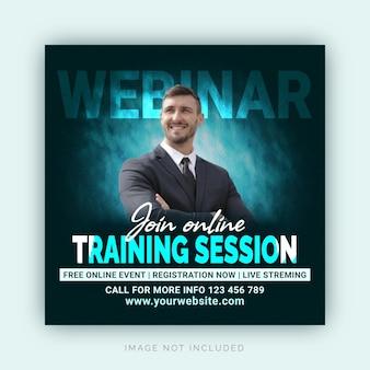 Webinar di formazione online e strategie aziendali di crescita banner instagram post sui social media