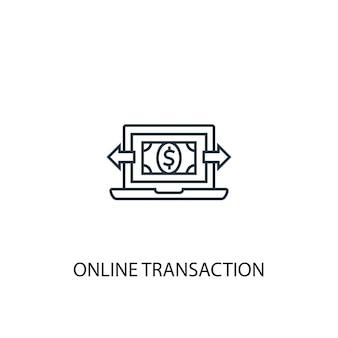 Icona della linea del concetto di transazione online. illustrazione semplice dell'elemento. disegno di simbolo di struttura del concetto di transazione online. può essere utilizzato per ui/ux mobile e web