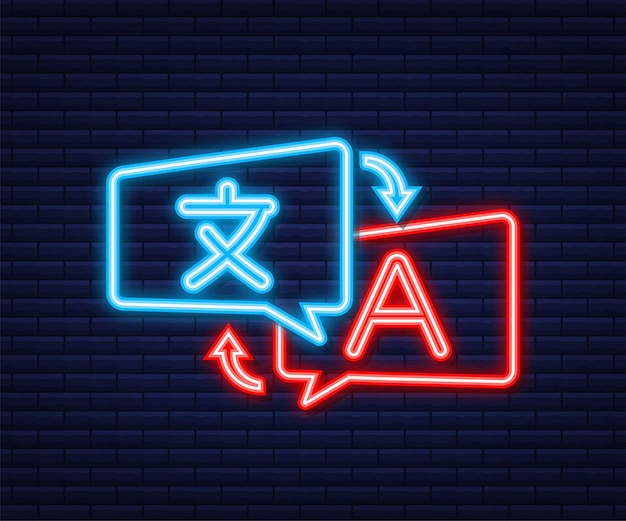 Concetto di traduttore online. icona del traduttore. icona al neon. illustrazione vettoriale.