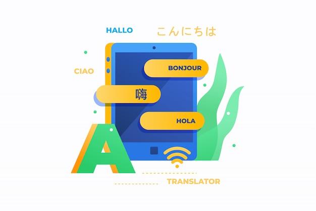 Traduttore online. ciao iscrizione in francese, italiano, spagnolo, tedesco, cinese e giapponese. concetto di educazione. immagine piatta.