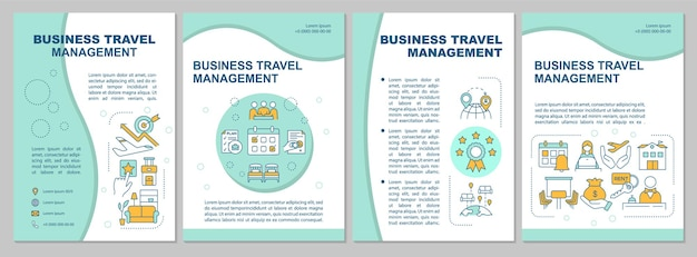 Modello di brochure per la prenotazione di viaggi online. gestione dei viaggi d'affari