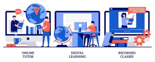 Tutor online, apprendimento digitale, concetto di lezioni registrate con persone minuscole