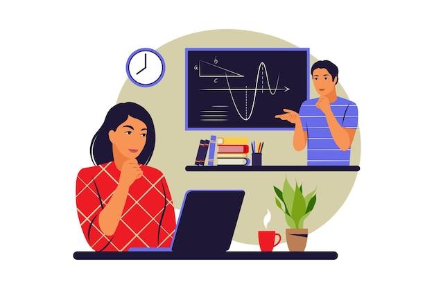 Concetto di tutorial online. apprendimento, corsi, tutorial. illustrazione vettoriale. appartamento.