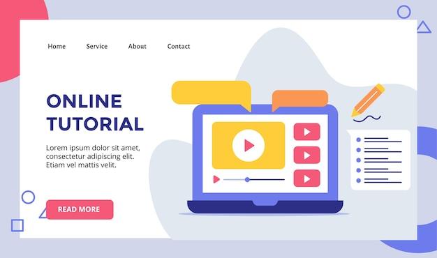 Video tutorial online riprodotto su display monitor campagna laptop per banner modello pagina di destinazione home homepage sito web con illustrazione moderna