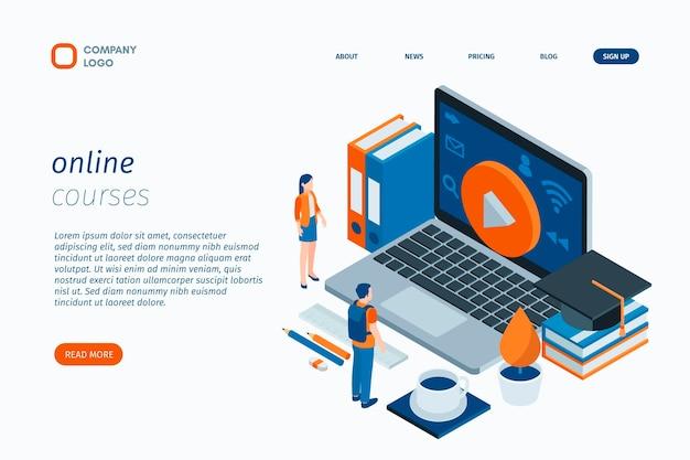 Tutorial online modello di pagina di destinazione Vettore Premium