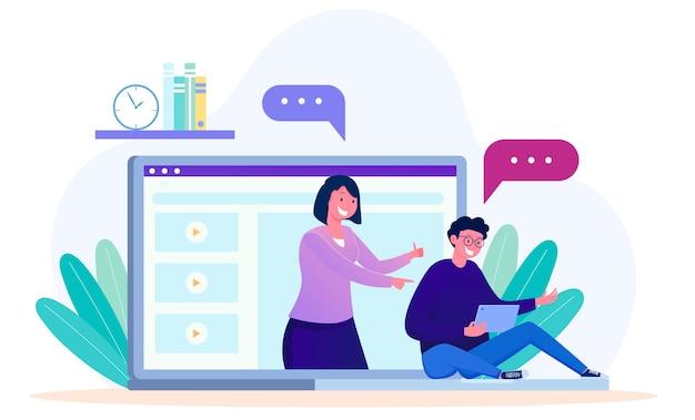 Tutoraggio online da parte degli studenti con l'insegnante su un concetto di illustrazione dello schermo del laptop