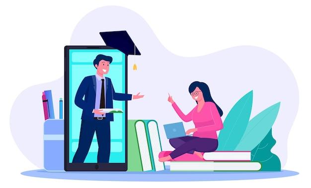 Tutoraggio online da parte degli studenti con l'insegnante sullo schermo di uno smartphone