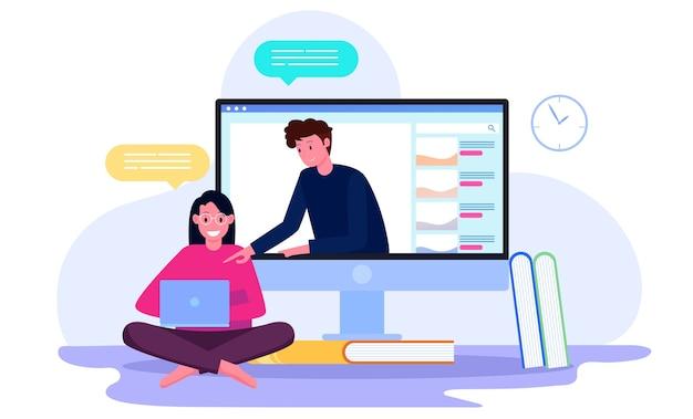 Tutoraggio online da parte di studenti con insegnanti sul concetto di illustrazione dello schermo Vettore Premium