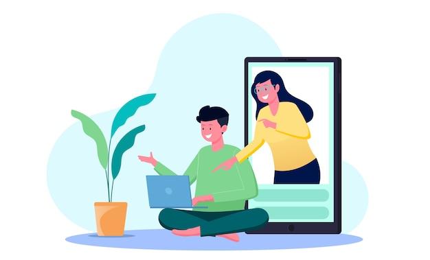 Tutoraggio online da parte di studenti con insegnanti sul concetto di illustrazione dello schermo dello smartphone