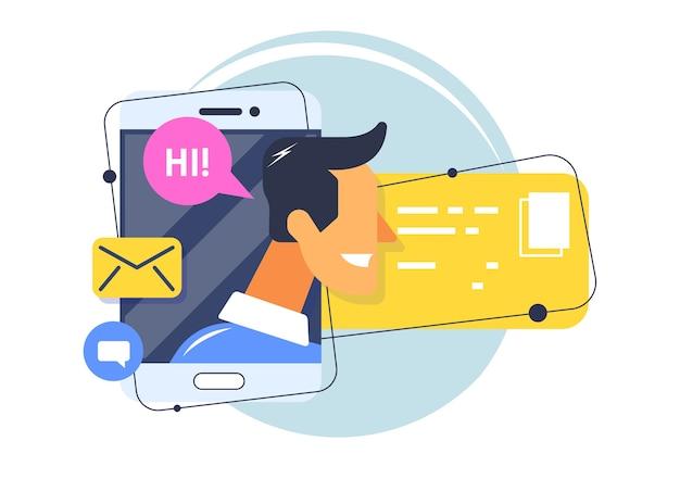 Profilo utente in linea. profilo sui social network, informazioni dell'utente in una chat messenger.