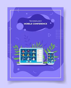 Illustrazione di videoconferenza online Vettore Premium