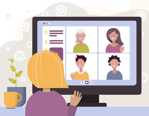 Videoconferenza online videochiamata comunicazione a distanza con gli amici apprendimento remoto o lavoro